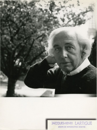 Photograph of Robert Bresson by Jacques-Henri Lartigue (Original photograph, circa 1974). Robert Bresson, Jacques-Henri Lartigue, director, photographer.
