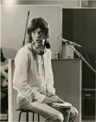 One Plus [+] One [Sympathy for the Devil] (Original photograph of Mick Jagger from the set of the 1968 film documentary). Jean-Luc Godard, Amiri Baraka The Rolling Stones, Eldridge Cleaver, director, subjects.