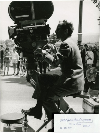 Pierrot le fou (Original oversize photo of Godard on the set of the 1965 film). Jean-Luc Godard,...