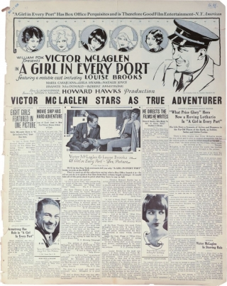 A Girl in Every Port (Original Film Pressbook). Howard Hawks, Louise Brooks, Myrna Loy Sally Rand, Victor McLaglen, director, starring.