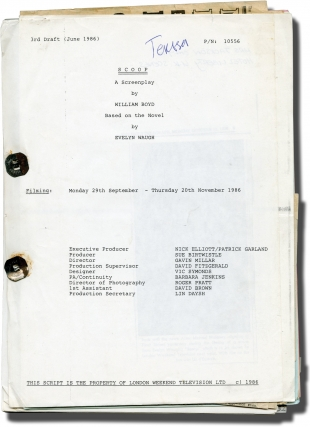 Scoop (Original screenplay for the 1987 film). Gavin Millar, William Boyd, Evelyn Waugh, Donald...