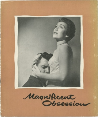 Magnificent Obsession (Original UK program for the 1954 film). Douglas Sirk, Robert Blees, Lloyd Douglas, Jane Wyman Rock Hudson, producer director, screenwriter, novel, starring.