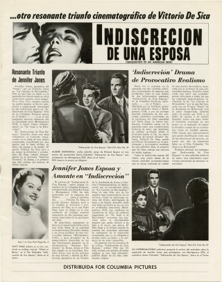 Indiscretion of an American Wife [Indiscrecion de una Esposa] (Original Spanish pressbook for the...