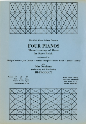Four Pianos: Three Evenings of Music by Steve Reich at Park Place Gallery in New York City...