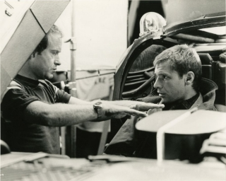 Blade Runner (Vintage photograph of Ridley Scott and Harrison Ford on the set of the 1982 film)....