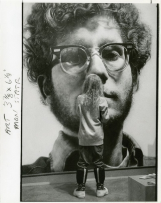 "Child views Chuck Close's ""Frank"" at the Minneapolis Institute of Arts (Original press..."