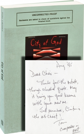 City of God (Uncorrected Proof, inscribed to Chris Offutt). Tom Grimes