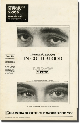 In Cold Blood (Original pressbook for the 1968 film, with all four inserts present). Truman...