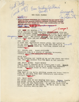 The Delta Factor (Original corrected manuscript screenplay for the 1970 film). Mickey Spillane,...