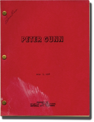 "Archive of scripts for 56 episodes of ""Peter Gunn"" (Collection of 57 original screenplays from the 1958-1960 television show). Robert Altman, David O. McDearmon Blake Edwards, Alan Crosland Jr., George Stevens Jr., Jack Arnold, Boris Sagal, Robert Ellis Miller, Lamont Johnson, Vick Knight Lewis Reed, Tony Barrett, P. K. Palmer, Lester Aaron Pine, Ken Kolb, Lola Albright Craig Stevens, Minerva Urecal, Hope Emerson, Herschel Bernardi, Henry Mancini, directors, screenwriters, starring, composer."