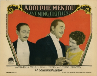 Evening Clothes (Original lobby card for the 1927 silent film). Louise Brooks, Yves Mirande Andre...