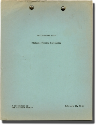 The Paradine Case (Post-production script for the 1947 film). Alfred Hitchcock, Robert Hitchens,...