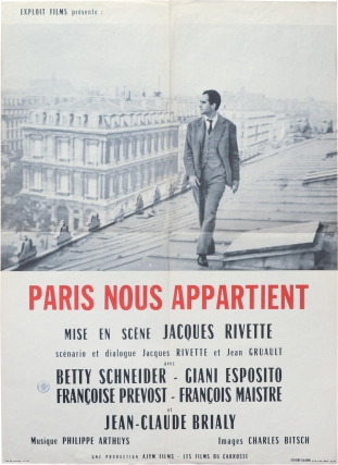 Paris nous appartient [Paris Belongs to Us] (Original French moyenne poster for the 1961 film)....