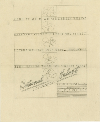National Velvet (Concept art sketch for advertisement promoting the film's original release). Clarence Brown, Elizabeth Taylor Mickey Rooney, Donald Crisp, director, starring.