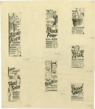 Blonde Fever [Blond Fever] (Concept art sketches for advertisements promoting the film's original release). Richard Whorf, Gloria Graham Mary Astor, director, starring.