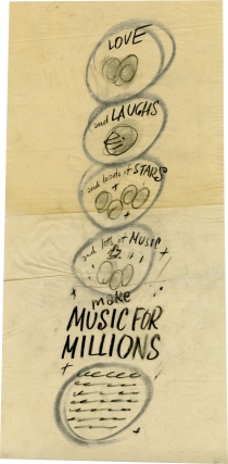 Make Music for Millions (Concept art sketch for advertisement promoting the film's original release). Henry Koster, June Allyson Margaret O'Brien, Jimmy Durante, director, starring.