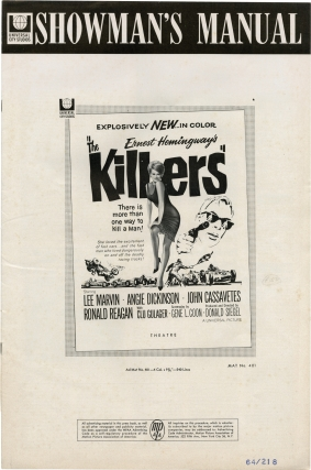 The Killers (Original Pressbook for the 1964 film). Ernest Hemingway, Don Siegel, Gene L. Coon, Angie Dickinson Lee Marvin, Ronald Reagan, John Cassavetes, story, director, screenwriter, starring.