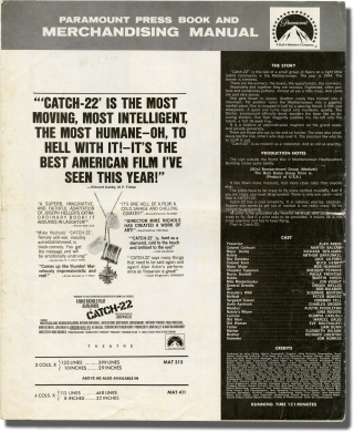 Catch-22 (Original pressbook for the 1970 film). Mike Nichols, Joseph Heller, Buck Henry, Alan Arkin, director, novel, screenwriter, starring.