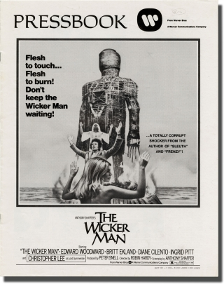 The Wicker Man (Original Pressbook for the 1973 film). Robin Hardy, David Pinner, Christopher Lee Anthony Shaffer, Edward Woodward, Britt Ekland, director, novel, screenwriter, starring.