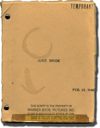 June Bride (Original screenplay for the 1948 film). Bretaigne Windust, Ranald MacDougall, Graeme...