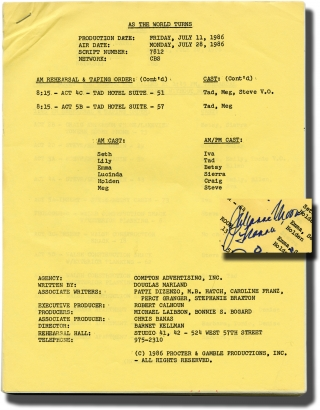 As the World Turns: Season 7, episode 812 (Original script for the 1986 television show, signed...