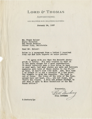 """Hal Roach archive of letters relating to the promotion of """"Topper"""""""