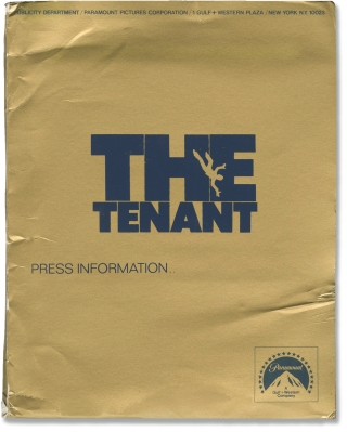 The Tenant (Original press kit for the 1976 film). Roman Polanski, Roland Topor, Gerard Brach, Melvyn Douglas Isabelle Adjani, Shelly Winters, screenwriter director, starring, novel, screenwriter, starring.