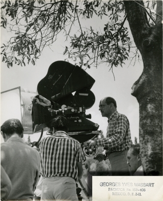 Fever Mounts at El Pao [La fiévre monte â El Pao] (Original photograph of Bunuel on the set of the 1959 film). Luis Bunuel, director, Gabriel Figueroa, cinematographer, Henri Castillou, novel, Georges Yves Massart, still photographer, Gérard Phillipe, starring.