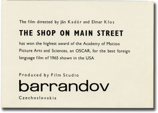 The Shop on Main Street [Obchod na korze] (Original herald for the 1965 film). Jan Kadar, Elmar...