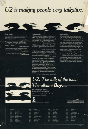 """""""I Will Follow"""" / """"Boy"""" double-sided U2 promotional poster"""