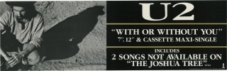 """With or Without You"" U2 promotional banner poster (Original poster for U2's 1987 ""maxi-single"")...."
