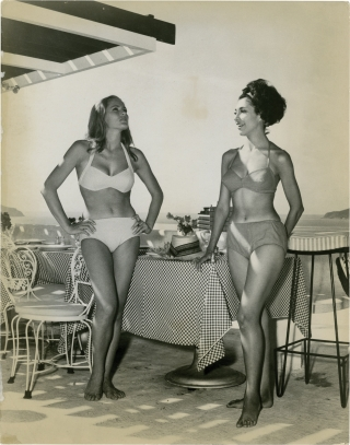 "Ursula Andress and Elsa Cárdenas on the set of ""Fun in Acapulco"""