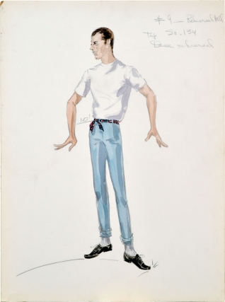 "Four original costume designs for the film ""Artists and Models"" done by Edith Head (Original artwork for the 1955 film). Jerry Lewis, Edith Tashlin Head, Frank, Hal Kanter Herbert Baker, Jerry Lewis Dean Martin, Eva Gabor, Dorothy Malone, Shirley MacLaine, costume designer, director, screenwriters, starring."