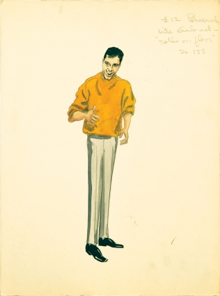 "Four original costume designs for the film ""Artists and Models"" done by Edith Head"
