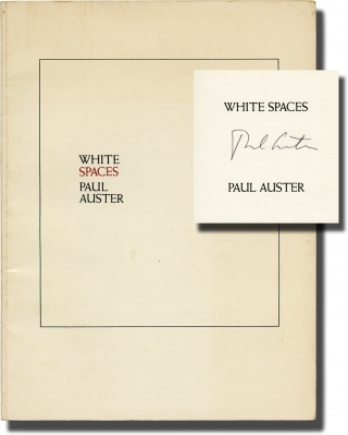 White Spaces (Signed First Edition). Paul Auster