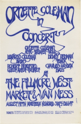 Ornette Coleman in Concert at The Fillmore West, August 5, 1968. Ornette Coleman, Charlie Haden...