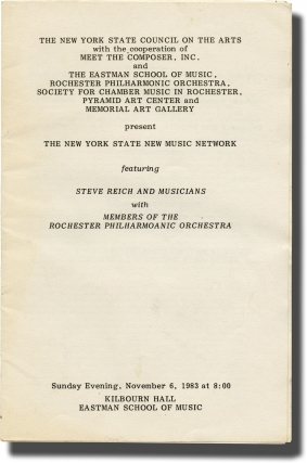 Steve Reich and Musicians, November 6, 1983 (Original program). Steve Reich
