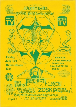 Psychic television, Tiny Lights, Zoskia, and others: Summer ov [of] L-OV-E (Original flyer for the 1987 performance). Genesis P-Orridge, Tiny Lights Psychic TV, Suzie Creemcheese, Zoskia, performing.
