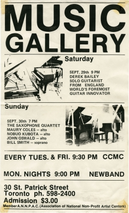 Original flyer for two performances at the Music Gallery by Derek Bailey and The Saxophone Quartet, 1984. Derek Bailey, Nobuo Kubota Maury Coles, Bill Smith, John Oswald, performing.