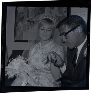 Original negative of Sammy Davis, Jr. and Mary Britt at their wedding. Sammy Davis, Mary Britt,...