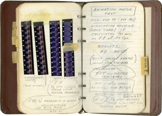 "Notebook containing film strips, technical notes and tests results for film and camera settings, including ""Multiple SIDosis"""