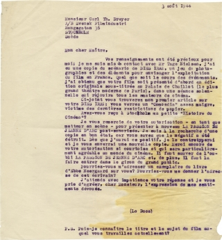 Archive of four letters discussing a sound version of The Passion of Joan of Arc