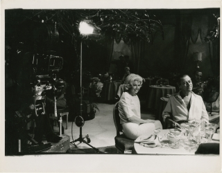 Midnight Lace (Original photograph from the set of the 1960 film). Robert Willoughby, David Miller, Ben Roberts Ivan Goff, Janet Green, Rex Harrison Doris Day, Roddy McDowell, Myrna Loy, photographer, director, screenwriters, play, starring, Bob.
