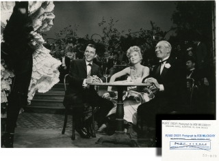 Can-Can (Original double weight photograph of Frank Sinatra, Shirley MacLaine, and Maurice Chevalier from the 1960 film). Robert Willoughby, Dorothy Kingsley Walter Lang, Charles Lederer, Cole Porter Abe Burrows, Shirley MacLaine Frank Sinatra, Louis Jordan, Maurice Chevalier, photographer, director, screenwriters, play, starring, Bob.
