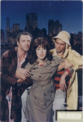 Luv (Original oversize double weight color photograph of Jack Lemmon, Elaine May, and Peter Falk from the 1967 film). Robert Willoughby, Clive Donner, Eliot Baker, Murray Schisgal, Peter Falk Jack Lemmon, Elaine May, photographer, director, screenwriter, play, starring, Bob.