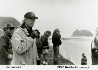 Dead Man (Original photograph of Jim Jarmusch on the set of the 1995 film). Jim Jarmusch, Christine Parry, Crispin Glover Johnny Depp, Robert Mitchum, John Hurt, Iggy Pop, screenwriter director, still photographer, starring.