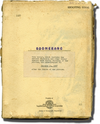 Boomerang (Original screenplay for the 1947 film, inscribed during production). Elia Kazan,...