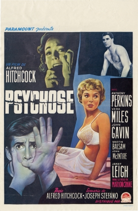 Psycho [Psychose] (Original Belgian poster for the 1960 film). Alfred Hitchcock, Robert Bloch,...