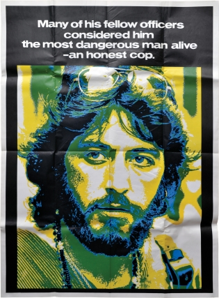 Serpico (Original poster for the 1973 film). Sidney Lumet, Peter Maas, Waldo Salt, Norman Wexler, John Randolph Al Pacino, Jack Kehoe, director, book, screenwriters, starring.