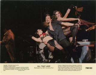 All That Jazz (Collection of 8 lobby cards for the 1979 film). Bob Fosse, Robert Alan Arthur, Jessica Lange Roy Scheider, screenwriter director, screenwriter, starring.